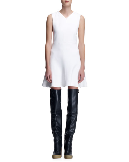 Crepe Sleeveless Dress, Milk White