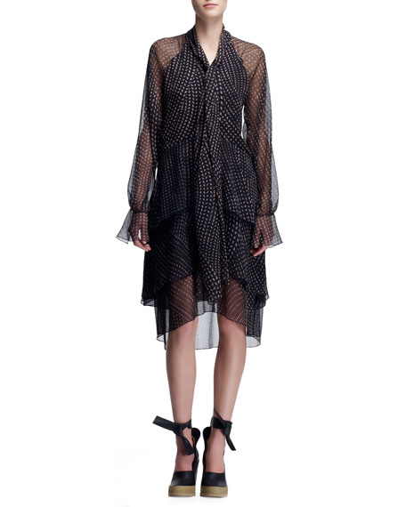 Long-Sleeve Tie-Neck Chiffon Dress, Black/White