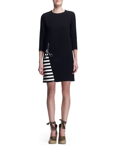 Chloe Crepe Dress with Scissors & Stripes, Black