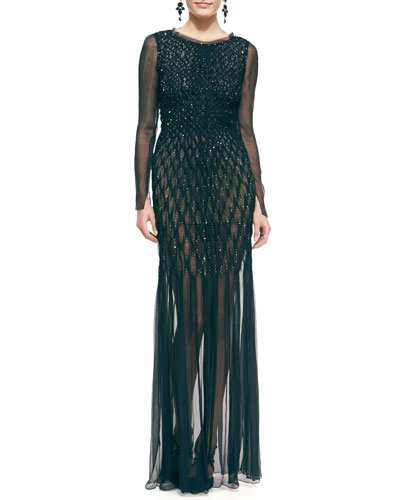 Oscar de la Renta Long-Sleeve Embellished Chiffon Evening Gown
