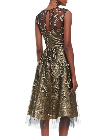 Metallic Embroidered-Overlay Dress