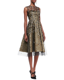 Oscar de la Renta Metallic Embroidered-Overlay Dress