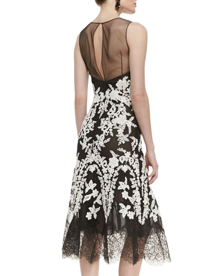 Lace-Embroidered Full-Hem Cocktail Dress