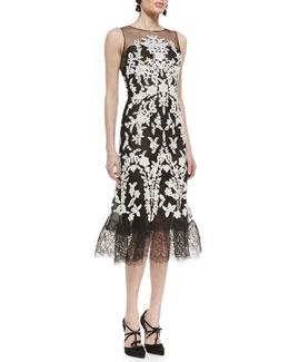 Oscar de la Renta Lace-Embroidered Full-Hem Cocktail Dress