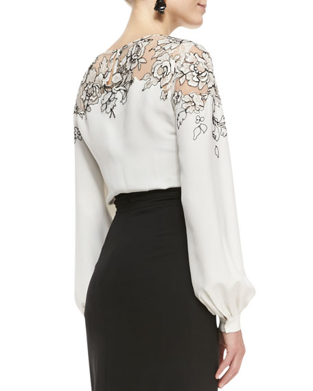 Lace-Embellished Silk Top