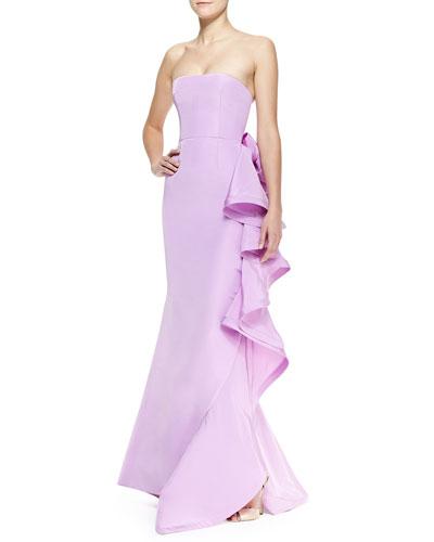 Oscar de la Renta Strapless Ruffle-Back Bow Gown