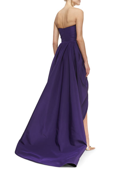 Strapless Tiered Bustle High-Low Gown