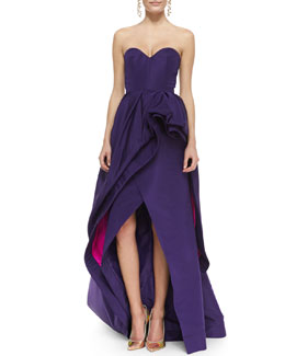 Oscar de la Renta Strapless Tiered Bustle High-Low Gown