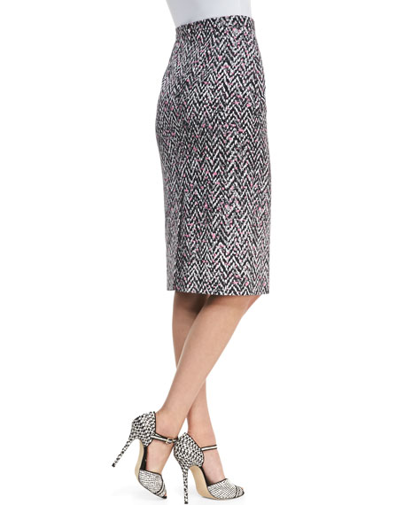 Oscar de la Renta Midi Tweed Pencil Skirt