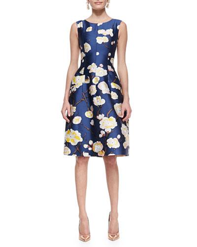 Oscar de la Renta Sleeveless Floral Dress, Navy