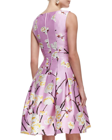 Sleeveless Seamed A-Line Floral Dress, Lilac