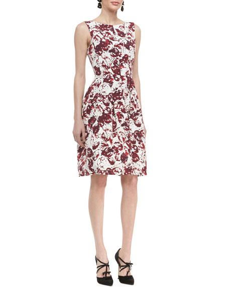Sleeveless Full-Skirt Floral Dress