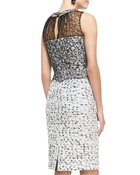 Sleeveless Lace-Overlay Tweed Dress