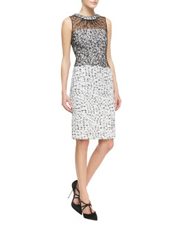 Oscar de la Renta Sleeveless Lace-Overlay Tweed Dress