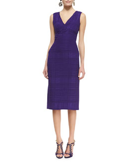 Oscar de la Renta Sleeveless Tonal Plaid Slim Dress