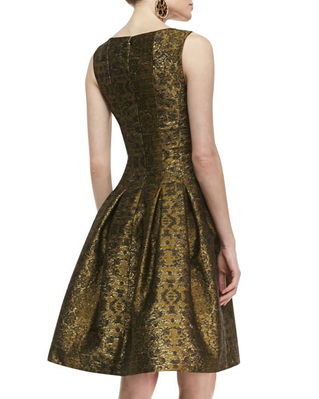 Pleated A-Line Brocade Dress
