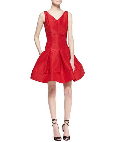 Oscar de la Renta Sleeveless Flared-Skirt Dress