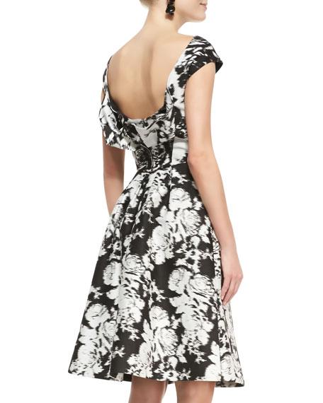 Seamed Cap-Sleeve Floral Dress