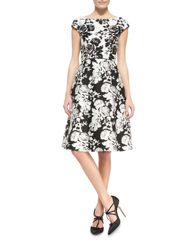 Oscar de la Renta Seamed Cap-Sleeve Floral Dress