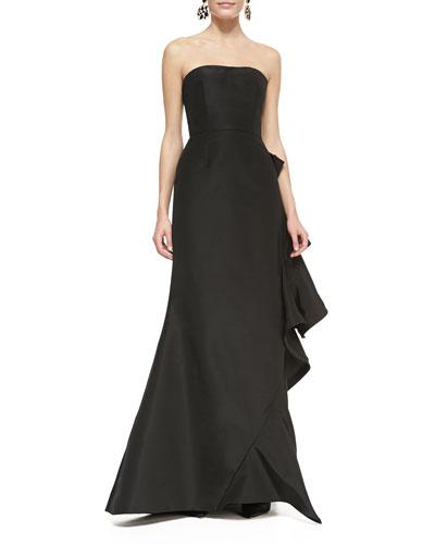 Oscar de la Renta Strapless Bias-Ruffle Gown
