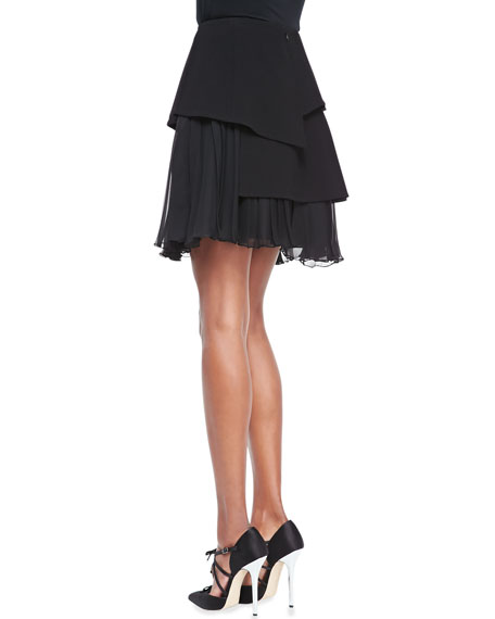 Pleated Chiffon Skirt, Black