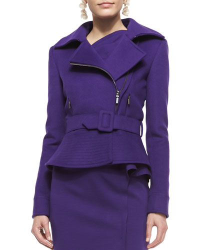 Oscar de la Renta Belted Wool-Blend Peplum Moto Jacket, Violet