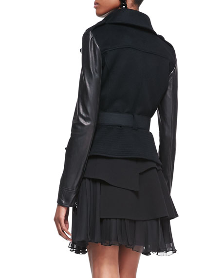 Leather-Sleeve Moto Jacket, Black