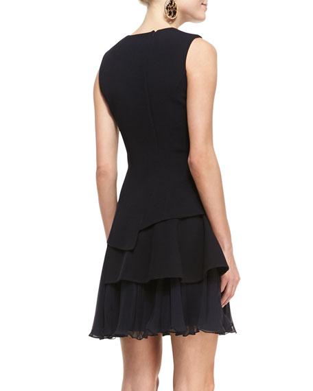 Sleeveless Crepe Dress with Chiffon Skirt, Black