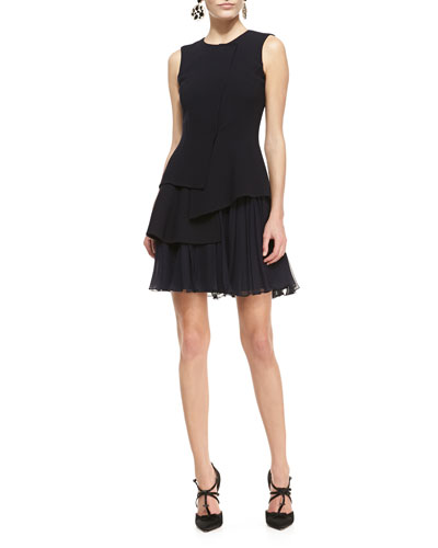 Oscar de la Renta Sleeveless Crepe Dress with Chiffon Skirt, Black