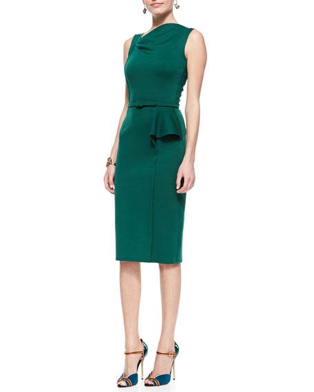 Sheath Dress with Asymmetric Peplum, Forest Green