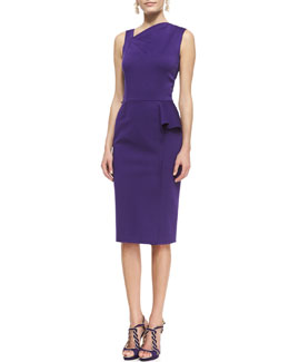 Oscar de la Renta Asymmetric Peplum Sheath Dress