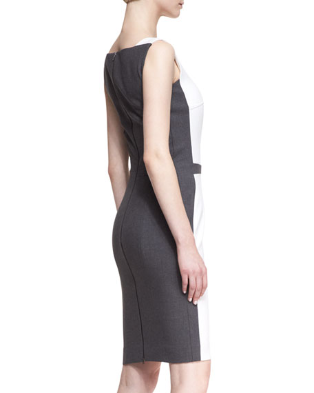 Sleeveless Square-Neck Sheath Dress with Contrast Back, White/Gray