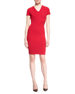 Escada Cap-Sleeve V-Neck Dress, Garnet