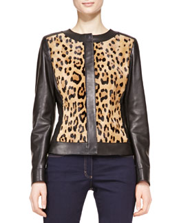Escada Long-Sleeve Leather Leopard Jacket