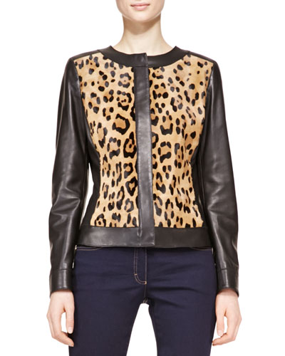 Escada Long-Sleeve Leather Leopard Jacket