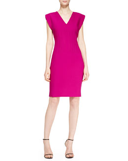 Escada Vertical Welt V-Neck Dress, Tourmaline