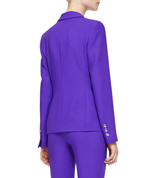 Long-Sleeve Wool Blazer, Purple