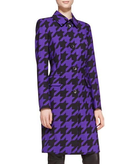 Long-Sleeve Houndstooth Coat, Blue