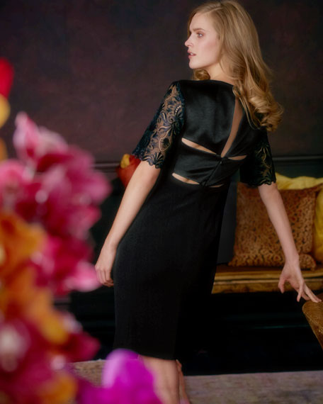 Lace-Sleeve Dress, Black