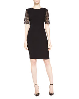 Escada Lace-Sleeve Dress, Black