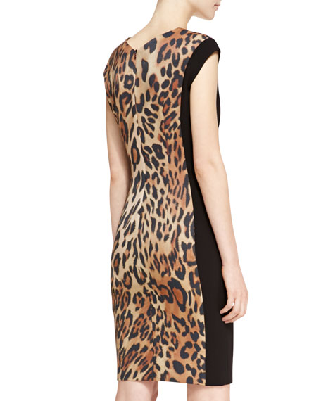 Escada Cap-Sleeve Leopard-Print Dress