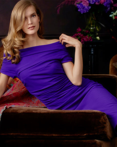 Cap-Sleeve Ruched Dress, Purple