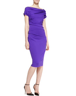 Escada Cap-Sleeve Ruched Dress, Purple
