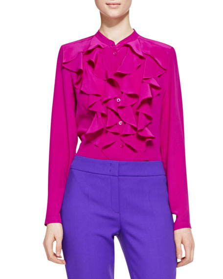 Long-Sleeve Ruffle-Neck Blouse, Fuchsia