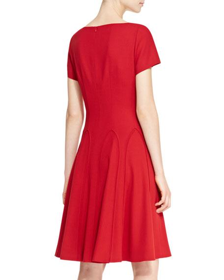Short-Sleeve Flared Dress, Garnet Red