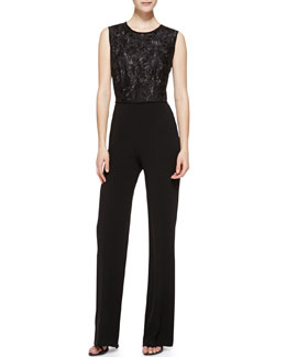 Escada Sleeveless Lace-Top Jumpsuit, Black