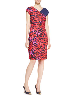 Escada Radiant-Seam Leopard Dress, Garnet Red