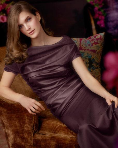 Cap-Sleeve Ruched Gown, Dark Purple