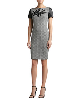 St. John Collection Prince of Wales Plaid Knit Short Sleeve Sheath Dress with Leather