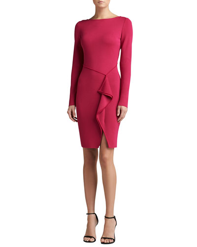 St. John Collection Milano Knit Bateau Neck Long Sleeve Draped Dress